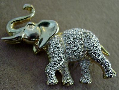 Vintage African ELEPHANT Animal Wild Brooch Pin Silver&Gold tone Dazzling BLING