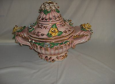 Azz Bros Vtg  Rococo Style Porcelain Tureenl Pink Gold Flowers Italy Ornate NICE