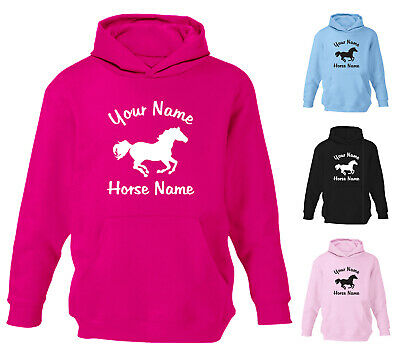 Childrens Personalised Horse Riding Hoodie Girls Hoody Boys Kids Sweatshirt Gift