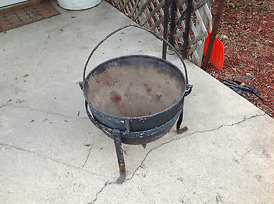 Antique 3 Legged Cast Iron Kettle Cauldron Flower Pot With Stand Holes Drilled