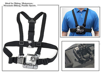 GoPro Chesty Body Strap Harness Mount 4 Hero 1 2 3 HD Neck Shoulder Hold +3 Ways