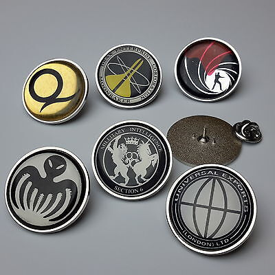JAMES BOND 007 High Quality Pin Badges Collection / Tie Pins - Chrome Bezel- NEW