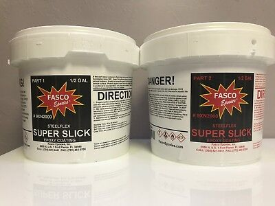 FASCO STEELFLEX SUPER SLICK EPOXY COATING 1 Gallon kit FREE PIGMENT & SHIPPING