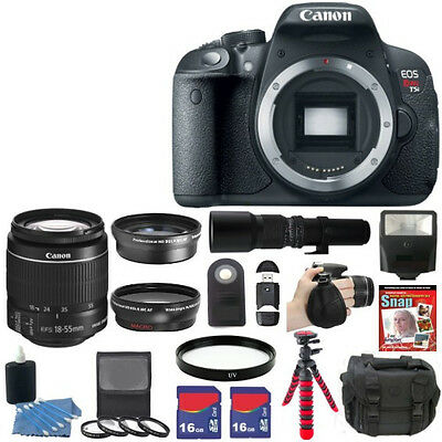 NEW Canon EOS Rebel T5i 700D Camera + 8 Lens Kit 18-55 STM + 32GB Wildlife Kit