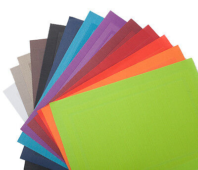"Set of 12 Richland® Double Border Placemats 18"" x 13"" / 13 Different Colors"