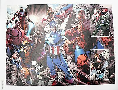 EarthFall 2 Marvel Avengers Giclee Canvas by Tan Eng Huat Signed by Stan Lee COA