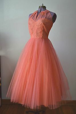 CORAL PINK PROM DRESS 1950s Prom 50s Prom Dress Tulle For Costume Theatre