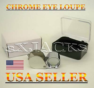 New All Metal Magnifier Eye Loupe Loop Magnifying Optical Grade Glass Chrome Usa
