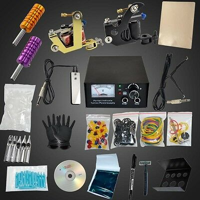 Full Tattoo Pro 2pcs Machine Gun Tattoo Kit Tips Needle Grip Power Supply Set