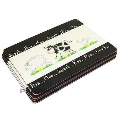 Set of 4 Home Farm Placemats Black & Cream Cute Animal Dinner Table Setting Mats