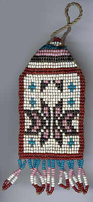 Antique Native American Indian Pit River Woven Beaded Watch Fob