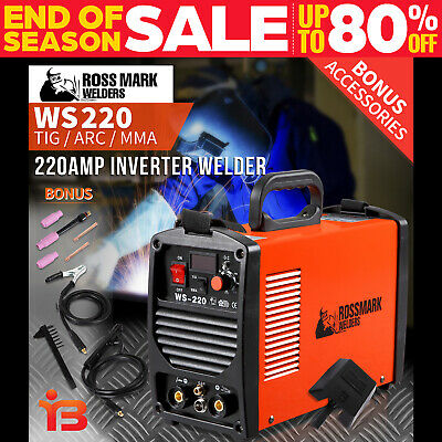 NEW ROSSMARK 220Amp TIG MMA ARC Welder Inverter Welding Wire Portable Tool LED