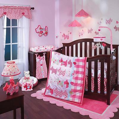 Hearts & Floral Scottish Terrier Pink Puppy Girls Baby 5 Piece Crib Bedding Set
