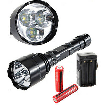 UltraFire 4000 Lumen 3x CREE XM-L 3T6 LED Flashlight Torch 18650 Battery Charger