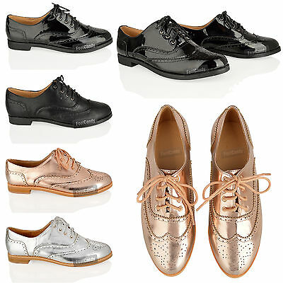 WOMENS LADIES LACE UP FLAT OFFICE FORMAL VINTAGE OXFORD BROGUE BLACK SHOES SIZE