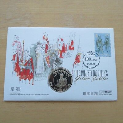First Day Coin Cover -The Queen's Golden Jubilee 2002 50p Isle of Man Cover 1552