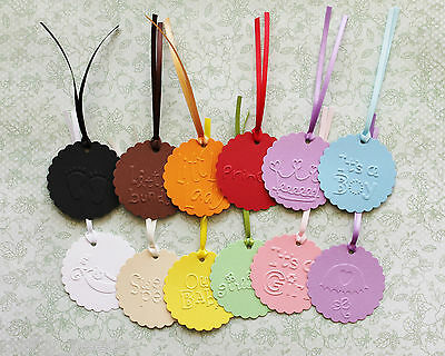 Swing Tags  EMBOSSED SCALLOPED CIRCLES Christenings, Baby Shower, Gift Cards