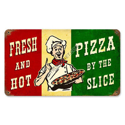 Pizza by the Slice Italian Flag Fresh Hot Vintage Restaurant Metal Sign 14 x 8