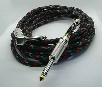 Pulse Guitar Lead straight to Right Angle Jack Black Cloth Braided Cable 5m