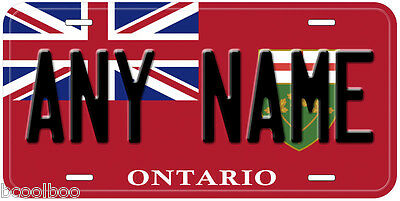 Ontario Flag Canada Any Name Personalized Aluminum Novelty Car License Plate