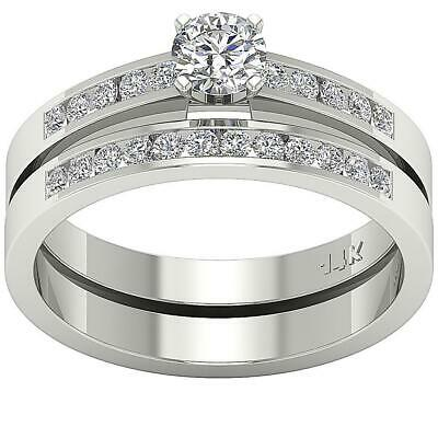 Matching Bridal Ring Engagement I1 H 1.01Ct Genuine Real Diamond 14Kt Solid Gold