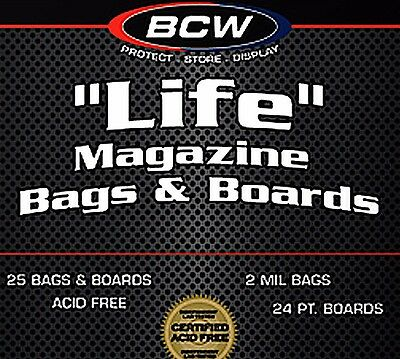 25 BCW LIFE Magazine Storage Bags and Boards - Acid Free Assembled  11X14