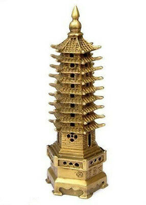 9-Tier Pagoda Religion Tower Chinese Bronze Statue Decoration