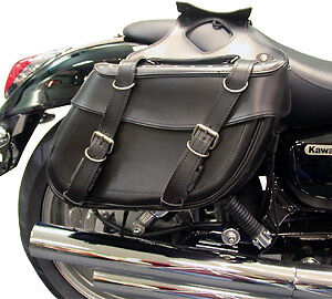 Motorcycle Custom Cruiser Style Panniers Studded Black Saddlebags Pair New