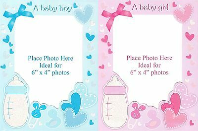 6 Baby Birth Announcement Personalise Photo Frame Glitter Card Envelope New Born