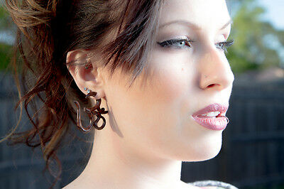 Spiral Organic Fake Gauges Wood Earrings tribal style hand made naturally