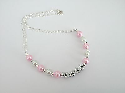 Personalised Acrylic Bead Necklace /& Bracelet Any Name /& Colour-19 colours