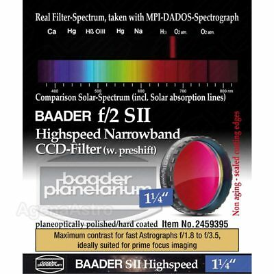 "Baader f/2 Highspeed Narrowband CCD Filter: S-II - 1.25"" # FSIIHS-1 2459395"