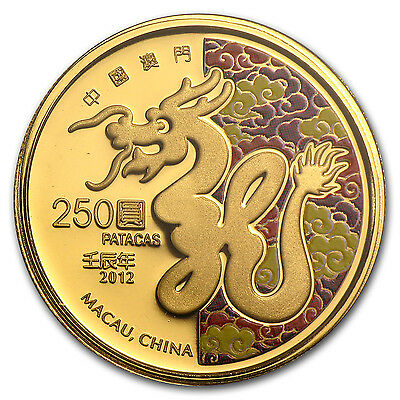 2012 Macau 1/4 oz Proof Gold Year of the Dragon Colorized Coin - SKU #83971
