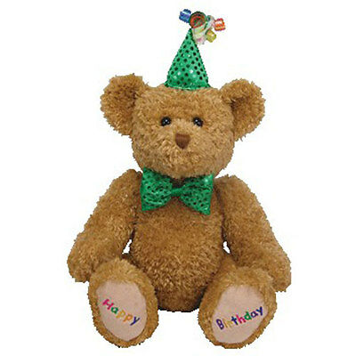 TY Beanie Buddy - HAPPY BIRTHDAY the Bear (Green Hat & Tie) (13 inch) - MWMT's
