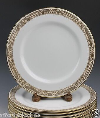 "Eight Spode Gold Honeycomb Border 10 3/8"" Dinner Plate Plates Y6731"