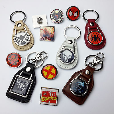 MARVEL COMICS Leather KEYRINGS & PIN BADGES - Spider-Man, X-Men, SHIELD, Ironman