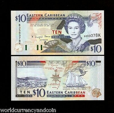 ST.KITTS EAST CARIBBEAN STATES $10 P32K 1994 QUEEN SHIP TURTLE UNC CURRENCY NOTE