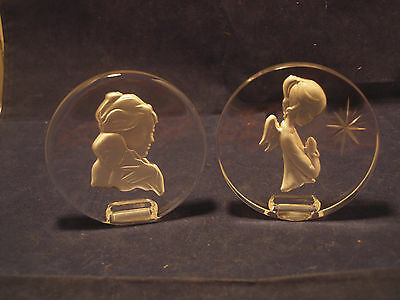 2 DANBURY MINT Lead Crystal Etched Glass Sculpture Mother's Ornament Paperweight
