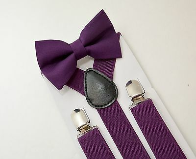 SET Kids Boys Purple Plum Suspenders & Cotton clip on bow tie 6mon-5Years