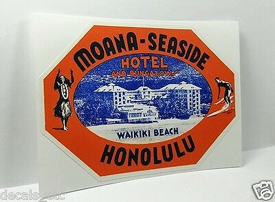 Moana Seaside Hotel Hawaii Vintage Style Travel Decal / Vinyl Luggage Sticker