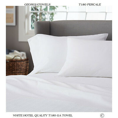 1 White T-180 Inn Hotel Motel Resort Percale Pillow Cases 20X30 Standard Size