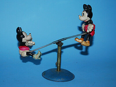 MICKEY & MINNIE MOUSE SEE SAW TIN/CELLULOID WINDUP TOY JAPAN 1930'S