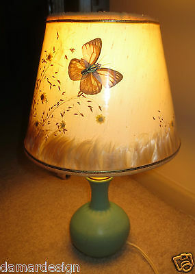 VAN BRIGGLE Art Pottery Fred Wills ORIGINAL Lamp Butterfly Shade 1950's NICE
