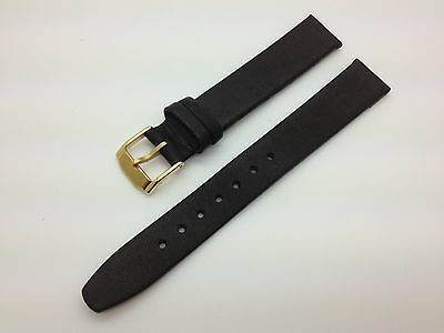 15mm Black Smooth Hadley Roma Genuine Leather Band MS976 fits for Movado Watch