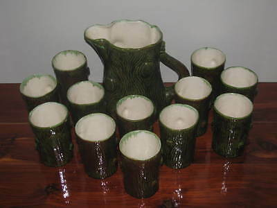 Garland Ceramics 1955 Tree Pitcher and 12 Cups