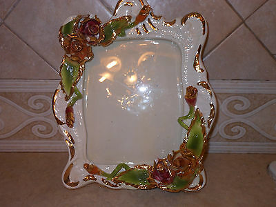 VTG Capodimonte Photo Frame Ceramics Flower 8 X 10 Arrangement Italy Rose Glass