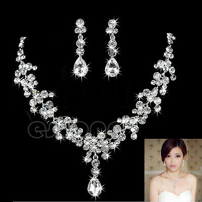 Charm Wedding Bridal Rhinestone Crystal Necklace Earring Plated Jewelry Set New