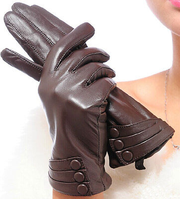 New Fashion 3 Buttons Sheepskin Driving leather Gloves Warm Touch Screen Gloves