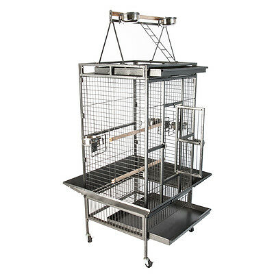 Bird Cage Large Play Top Amazon Parrot Finch Cage Macaw Cockatoo Pet Supply Blk