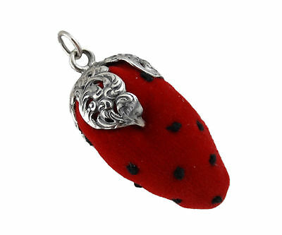 Strawberry Pin Cushion Antique Replica - 925 Sterling Silver Sewing Chatelaine